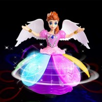 Princess Music Dancing Doll & Rotating Angel Girl Flashing Lights with Music Gift Toy For Kids or Baby