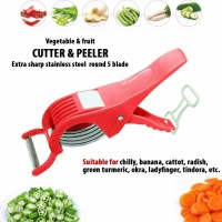 2 in 1 Stainless Steel 5 Blade Vegetable Cutter with Peeler, Chilly,Onion Cutter With Lock System/Plastic Vegetable and Fruit Cutter