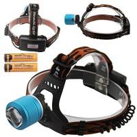 Led headlight dual light source zoom white blue headlamp xml T6 waterproof fishing headlight