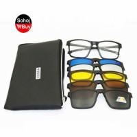 Sunglasses Magnetic Clip 1 Optical Frame + 5 Lense Glasses 2258A