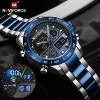 NAVIFORCE original 2 time Watch for Men Fashion watch with Stainless Steel ,Waterproof Quartz Clock Watch,With One year international warranty card service .