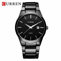 Curren original black chain date function watch water resistant with 1-year warranty card service