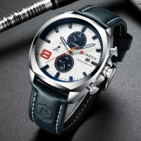 CURREN 8324 Men's Watch Round Three-eye Belt Simple Six-needle Multi-function Calendar