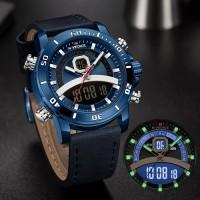 NAVIFORCE/Lingxiang 9181 belt watch waterproof men's watch quartz watch sports dual-movement electronic watch