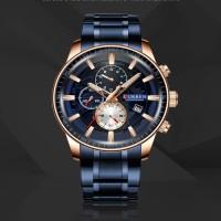 CURREN  original Men Round Three Eyes Dial Watch Fashion Calendar Wristwatch Water-resistant -