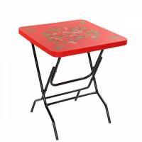 Royal Coffee Table Steel Leg Printed Elegant Red